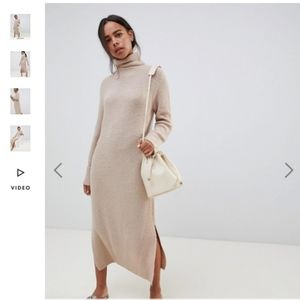ASOS Chunky Knit Ribbed Turtleneck Sweater Dress 8